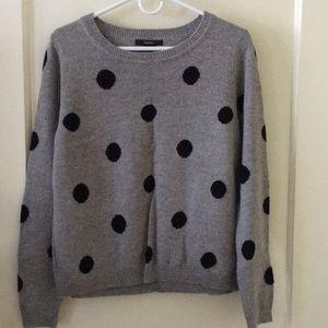Forever 21 Grey Black Polka Dot Women Sweater